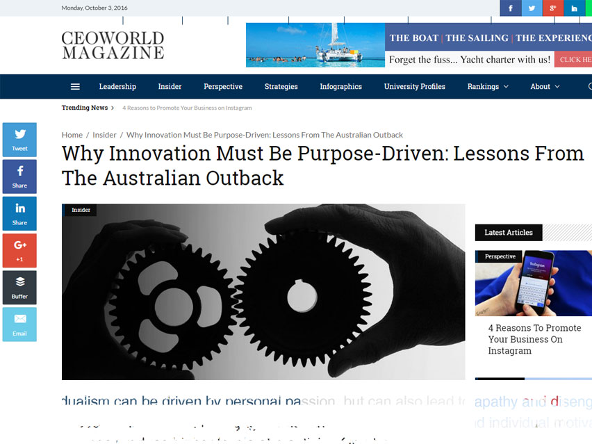 Why innovation must be purpose driven – Lessons from the Australian outback