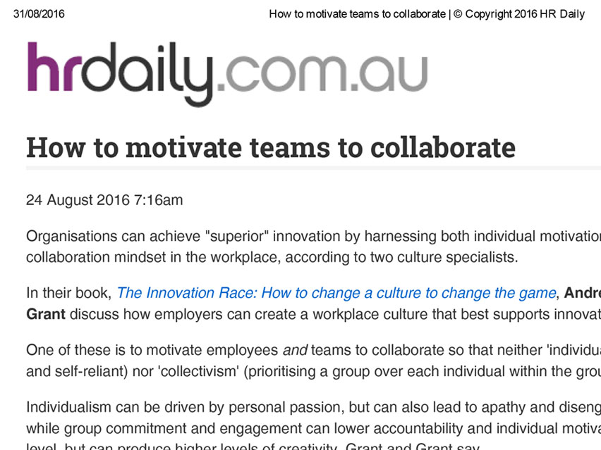 HR DAILY: How to motivate teams to collaborate