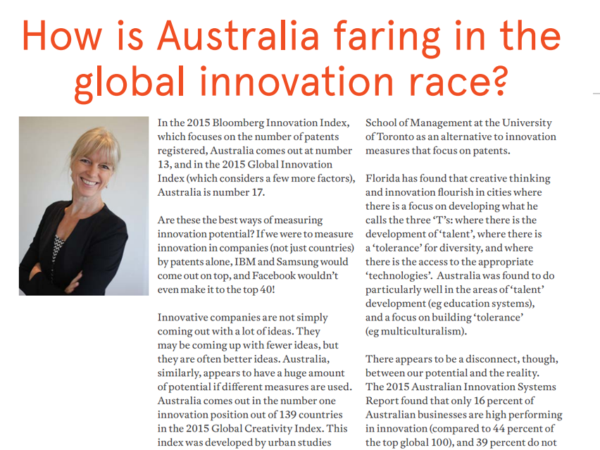 How is Australia faring in the global innovation race? A sneak peak article written by Gaia Grant for Sydney Business Connect print magazine