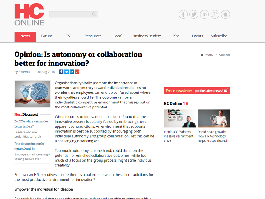Is autonomy or collaboration better for innovation?