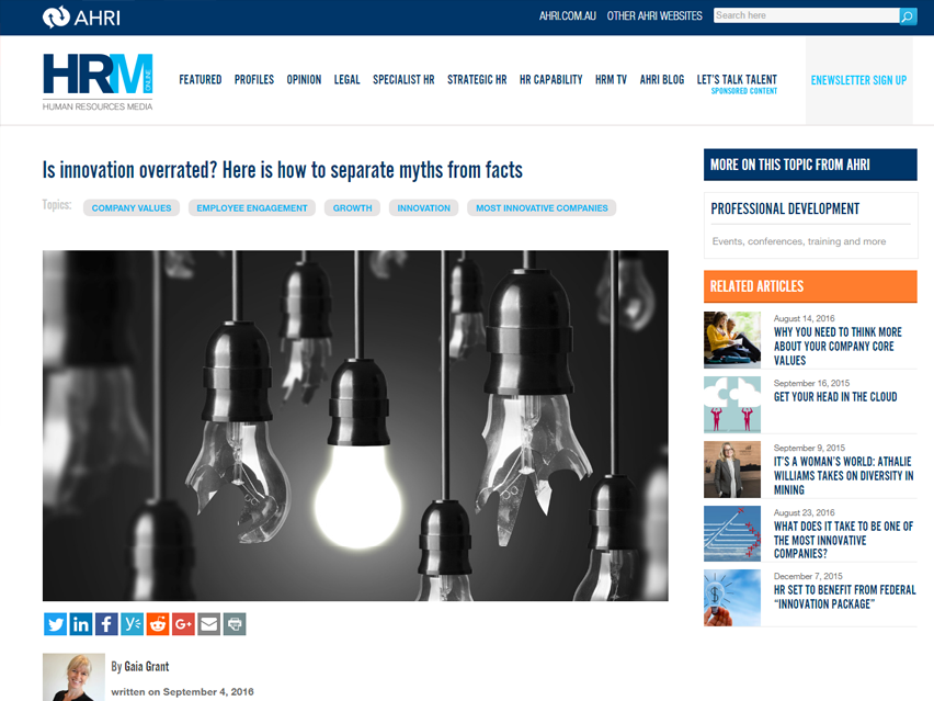 Human Resources Media Online: Is innovation overrated? Here is how to separate myths from facts