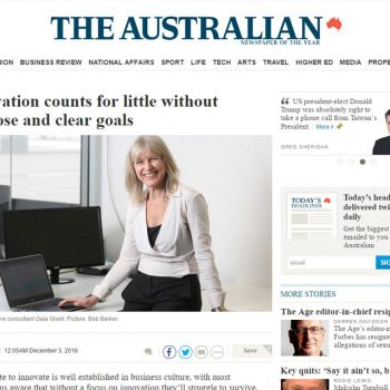 The Australian: Innovation counts for little without purpose and clear goals
