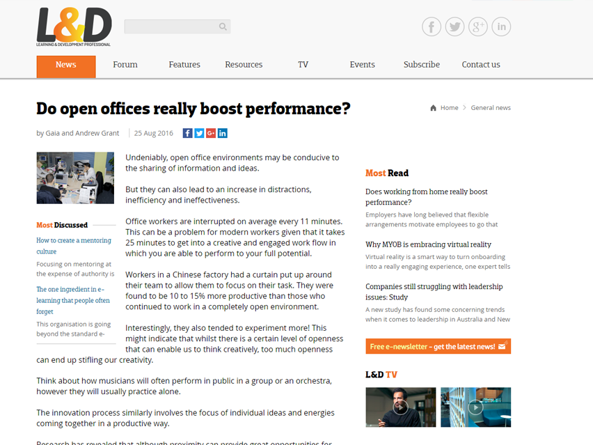 Do open offices really boost performance?