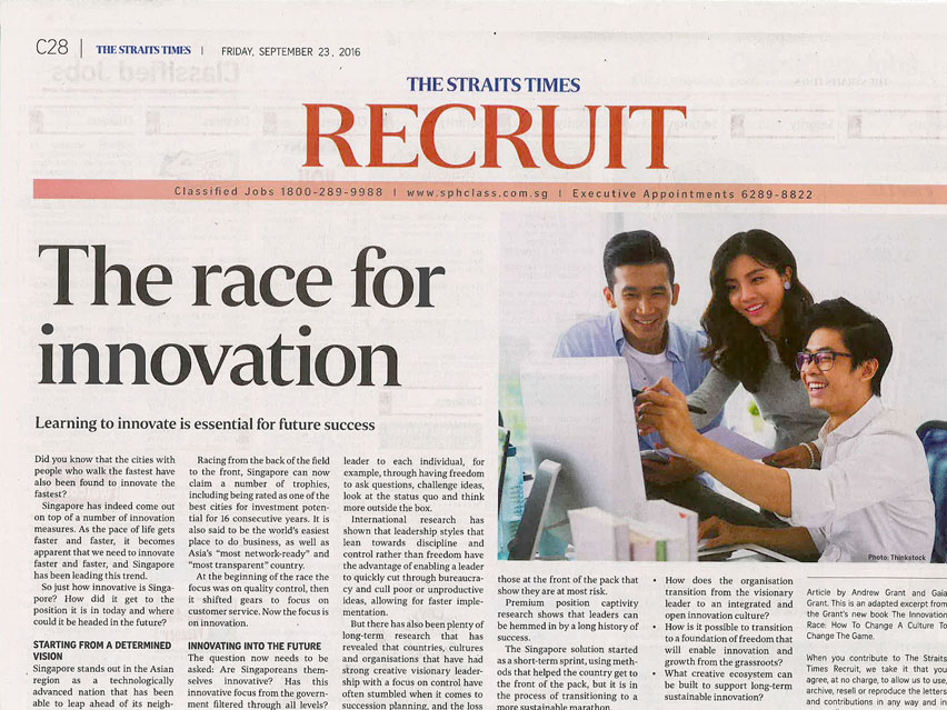 THE STRAITS TIMES: The Race for Innovation