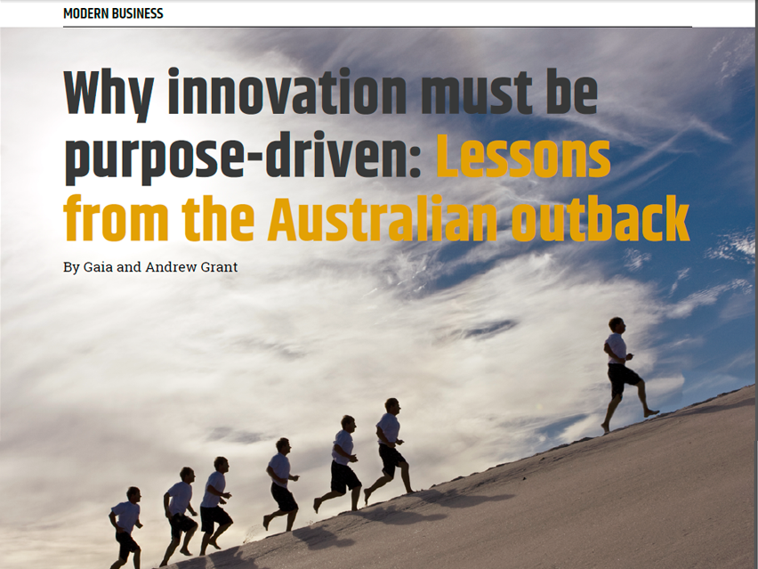 Why innovation must be purpose driven Lessons from the Australian outback