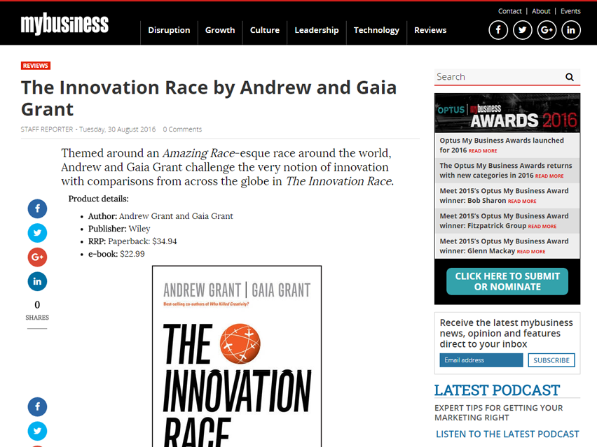 Themed around an Amazing Race-esque race around the world, Andrew and Gaia Grant challenge the very notion of innovation with comparisons from across the globe in The Innovation Race.