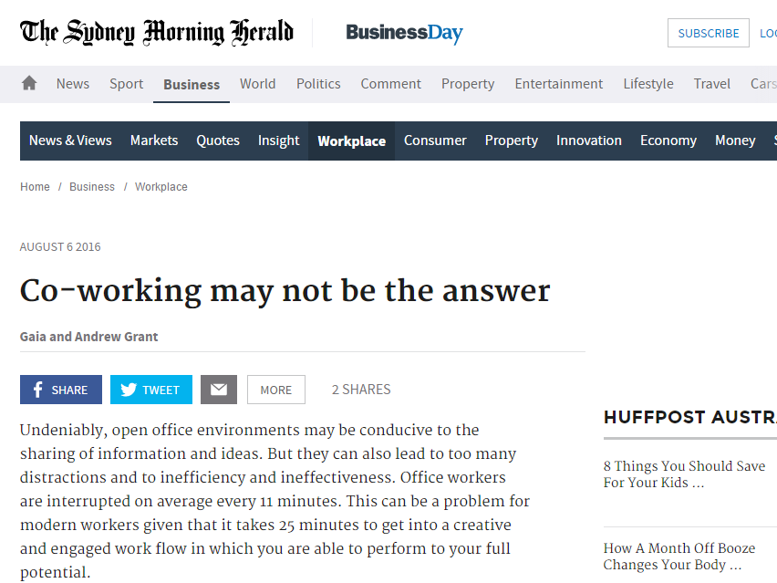 Sydney Morning Herald: Co-working may not be the answer