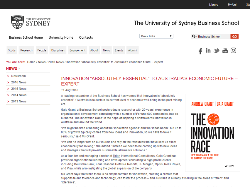 "The University of Sydney Business School: Innovation ""absolutely Essential"" To Australia's Economic Future"