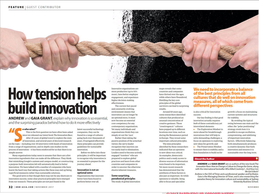 HR Asia Magazine: How Tension Helps Build Innovation
