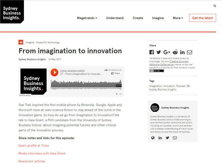 SYDNEY BUSINESS INSIGHTS: From imagination to innovation